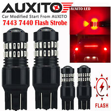 4 PC AUXITO 7443 7440 Brake Tail Stop Light Red Flash Strobe Blinking LED Bulb A