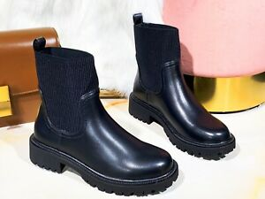 NEW WOMEN LADIES LOW BLOCK CHUNKY HEEL SOLE CHELSEA SMART ANKLE SHOES BOOTS SIZE