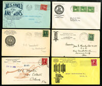 US Lot of 6 Early Clean Vintage Stamp Covers