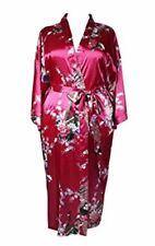 Fushia Plus Size Peacock Japanese Women Kimono Sleep Robe US Size 1X 2X 3X