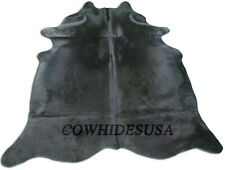 Dyed Black Cowhide Rug with backing Size: 7.5' X 7' Black Dyed Cow Hide C-521