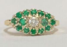 Estate Jewelry Ladies Emerald & Diamond Cluster Ring 14K Yellow Gold Size 6