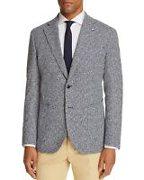 L.B.M. 1911 Mens Unconstructed Slim Fit Tweed Navy Sport Coat US 38R (IT 48R)