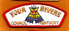 FOUR RIVERS S-2 Vintage KY Boy Scout Mgd 1994 Council Patch- plst back Kentucky
