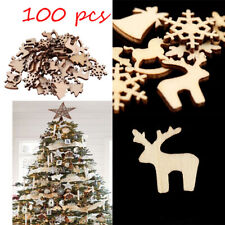 100pcs Christmas Decoration Wooden Snowflake Deer Xmas Tree Hanging Ornaments