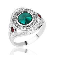Brillante Cristallo Verde Smeraldo cristallo Cerchio Argento Grande 18 mm