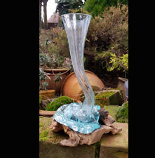 Hand Made Glass Vase with Teak Root Base,Rustic Decor,Home Accessories,