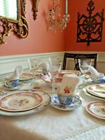Vintage Mismatched China 30 Piece Service for 4 English Ridgways, Crystal, Linen
