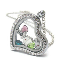 ORIGAMI-STYLE NURSE Caduceus Ambulance Cap Floating Charm Heart Locket Necklace