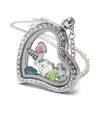ORIGAMI-STYLE NURSE Caduceus Ambulance Cap Floating Charm Heart Locket Necklace
