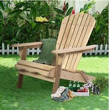 Outdoor Wood Adirondack Chair Foldable Patio Lawn Deck Garden Furniture