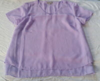 Women's Blouse Size 10 Lilac Semi Sheer Fully Lined Short Sleeve - Suzanne Grae