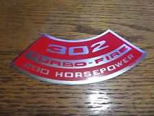 67 68 69 CAMARO AIR CLEANER DECAL Z28 DZ 302 290HP 1968 1969 COWL INDUCTION ZL2