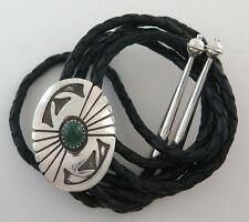 Sterling on Sterling Silver Overlay with Malachite Southwestern Bolo Tie