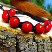Red Glass Healing Beads Black String Bracelet