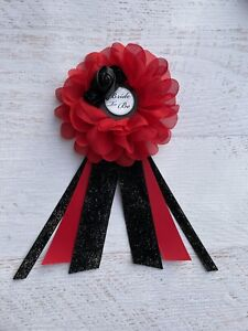 Red /Black Gothic Bridal Shower Corsage,Bride To Be Corsage Pin