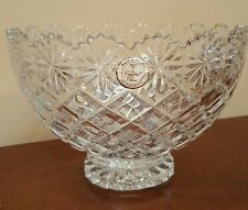 """Vtg CRYSTAL CLEAR Large Handcut 24% Lead Crystal Footed Bowl Made in Poland 8"""""""