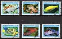 Peces Benin (26) serie completo de 6 sellos matasellados