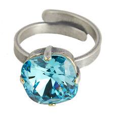 Grevenkämper Ring Silber Swarovski Kristall Rund Statement Light Turquoise blau