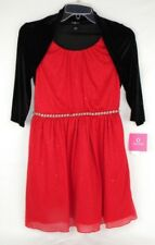 Amy Byer Red Sparkle Dress With Black Shrug NWT Kid's/ Girl's Sz 14 Polyester X