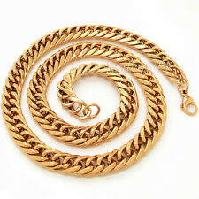 """11.5MM THICK MEN Gold/Silver/Black Stainless Steel Curb Chain Necklace 22""""~30"""""""