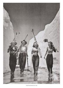 GIRLS GONE SKIING Classic 1942 California Bikini-Topped Skiers POSTER Print