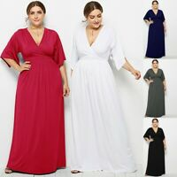 UK Women Boho Summer Beach Maxi Dress Evening Party Ladies Dress Big Size 12-20