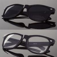 New Black or Clear Lens Sunglasses Vintage Retro Men Women Classic Frame Glasses