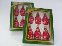 2 Boxes Vintage Pyramid Vidrio Muran Christmas Blown Glass Ornament 6 Santas/Box