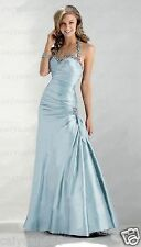Long Taffeta Beads Wedding Formal Party Prom Bridesmaid Evening Dress Size 6-18