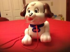 Fisher Price Dog Puppy Vintage Pull Toy Bark Motion Hard Plastic Collectable