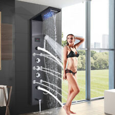 Stainless Steel Shower Panel Tower LED Rain Waterfall Massage Body System Jets