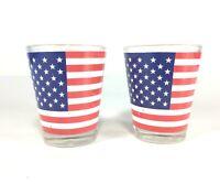 Lot of 2 USA flag shot Glasses bar essential