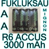 4 x PILAS AA pilas BATERÍAS RECARGABLES MIGNON 3000mAh Ni-MH 1, 2V R6 LR06 NUEVO