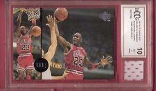 MICHAEL JORDAN GAME USED JERSEY PIECE &1995 UPPER DECK CARD GRADED BCCG 10 BULLS