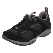 Clarks Inwalk Air Womens Black Suede & Mesh Lightweight Lace Up Trainers Size 3
