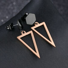 Hexagon Hollow Triangle Black/Rose Gold GP Surgical Stainless Steel Earrings
