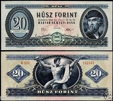 HUNGARY 20 FORINT 1969 BANKNOTE P#169e MAGYAR UNGARN UNC