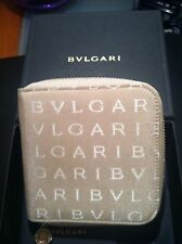 BVLGARI Beige And Cream Contrast Leather Zipped Wallet Purse (New+Boxed) £120