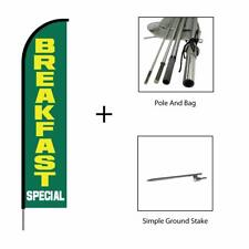 Breakfast Banner Swooper Feather Flag Pole Kit Restaurant Sign, Green 15ft