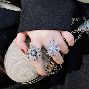 Women's Rotating Snowflake Ring Adjustable Zircon Ring Ladies Accessories Gift