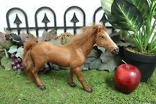 Brown Standing Horse Realistic Taxidermy Replica Figurine Furry Animal Racing