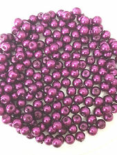 4mm Glass faux Pearls strand - Plum (200+ beads) [rich red/purple]