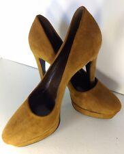 Extra Narrow Size 10 Brown Suede Italian High Heel Pumps by Via Montenapoleone