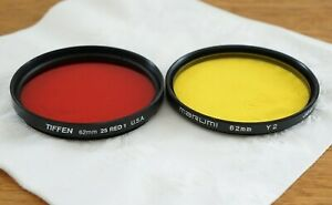 62MM RED AND YELLOW  TIFFEN / MARUNI FILTERS LOT OF 2