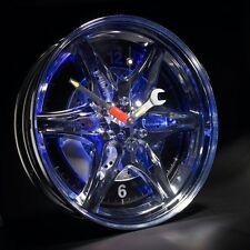 Neon Rim Wall Clock Car Wheel LED Novelty Blue Light Tyre Decorate Room Gift
