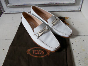 Tod's white loafers deck shoes size 4 sze 37 good condition