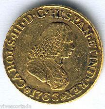 Carlos III 2 Escudos 1763 Popayan N.J. Oro @ Bella @