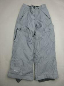 RPZN Size M(10-12) Youth Gray Nylon Outdoor Insulated Snow Ski Pants T036