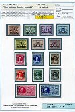 Vaticano Pio XI- Pacchi Postali 15 val. Integri e perfetti Cart. Bolaffi 100%